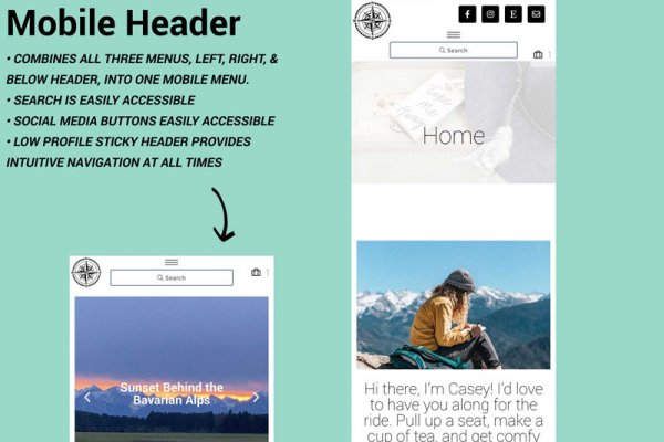 WordPress Travel Blog Theme Yonder Mobile Header