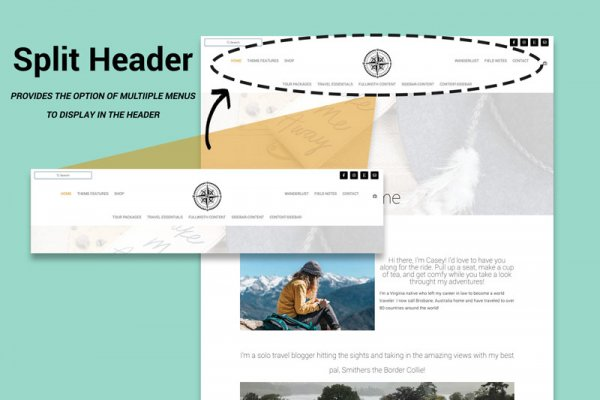WordPress Travel Blog Theme Yonder Split Header
