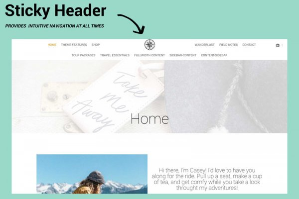 WordPress Travel Blog Theme Yonder Sticky Header